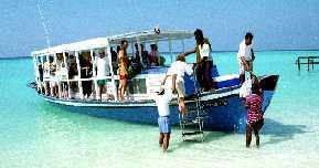 Disembarking on island.